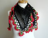 Triangle  Black Scarf By Crochetlab, Mini shawl red and black