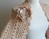 Soft Beige Shrug,  Fall  -  Winter Fashion,  Ready To Ship,  Gift for Her, Flower
