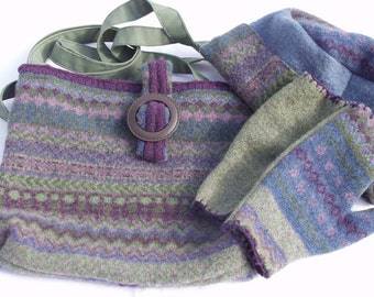 Purple and Green Winter Set: Purse, Hat, and Fingerless Gloves, Handmade from Felted Wool Sweaters