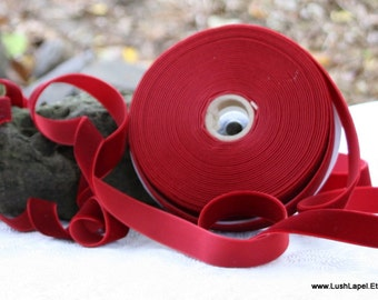 "Cranberry Velvet Ribbon - 3/4"" Wide, 1 Yard"