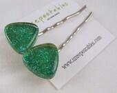 SAMPLE SALE! Blue Green Glitter Nail Polish Hair Pins. Mermaid Glitter Polish. Clearance. Gift. Prom.