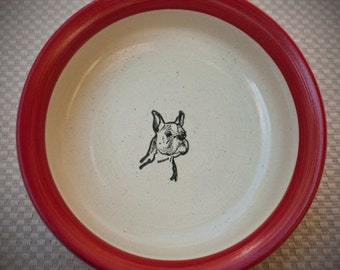 Boxer Face - Bowl in Red (Medium)