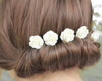 Ivory Rose Bobby Pins Set of Five Clips Wedding Bridal Hair Slides Cream White Romantic  Floral Accessories Flower Hair Clips Flower Garden