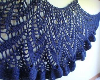 Cascading Blue Ruffle Lace Shawl Wrap Around Navy Blue