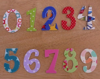 Fun Iron on Fabric Numbers - 3.8cm - 4.2cm number appliques - made to order, choose your digits and fabrics - ships from UK