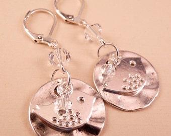 Bird Earrings Silver Earrings Crystal Earrings Swarovski Crystal Jewelry Beaded Jewelry Beaded Earrings Bird Jewelry Silver Jewelry