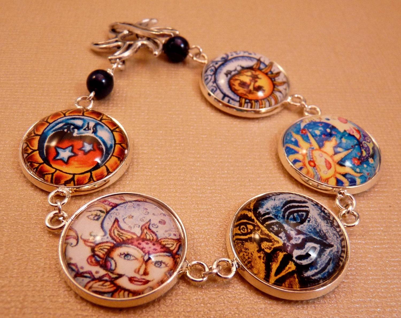 sun and moon bracelet glass tile bracelet glass tile jewelry