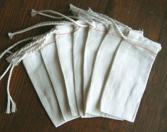 """Muslin Bags 200 Natural Small 2 x 4"""" Cotton Muslin Drawstring Bags for packaging, decorating, jewelry, gifts, crafts, wedding favors"""