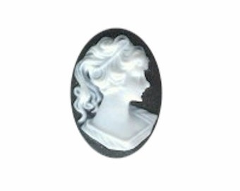 18x13 classic jewelry cameo RIGHT Facing Black White Ponytail Girl Resin Profile Cameo classic cameos for wedding favors embellishments 105a