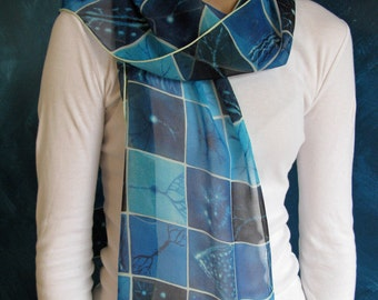 Blue Brain Cells Silk Scarf