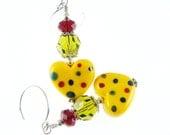 Colorful Lampwork Earrings, Heart Earrings, Yellow Glass Bead Earrings, Beadwork Earrings, Glass Bead Jewelry, Polka Dot Lampwork Jewelry