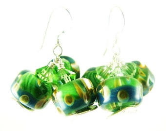 Green Boro Lampwork Earrings, Glass Bead Earrings, Dangle Earrings, Blue Drop Earrings, Beadwork Earrings, Lampwork Jewelry