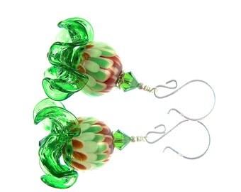 Floral Lampwork Earrings, Dangle Earrings, Glass Bead Earrings, Glass Bead Jewelry, Green White Red Earrings, Floral Drop Earrings