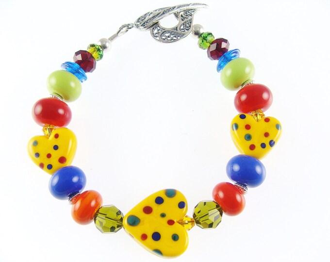Featured listing image: Heart Lampwork Bracelet, Red Blue Glass Bead Bracelet, Colorful Bracelet, Lampwork Jewelry, Yellow Polka Dot Bracelet, Beadwork Bracelet