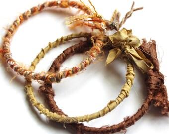 Gypsy Recycled Sari Silk, Yarn, and Fiber Bangles - 3 - brown, tan, beige, orange, rust,and grey