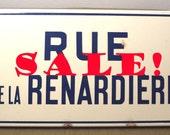 ON SALE!! Vintage enamel Paris suburb street sign Rue de Renardiere