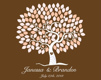 Wedding Guest Book Alternative Print--  To Be Personalized With Guest's Signatures - 17x22 - 160 Signature Wedding Guest Book tree