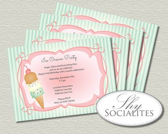 Old Fashioned Ice Cream Cone Invitations   Birthday Party, Baby Shower, Ice Cream Party, Pink and Green   Editable Text INSTANT DOWNLOAD