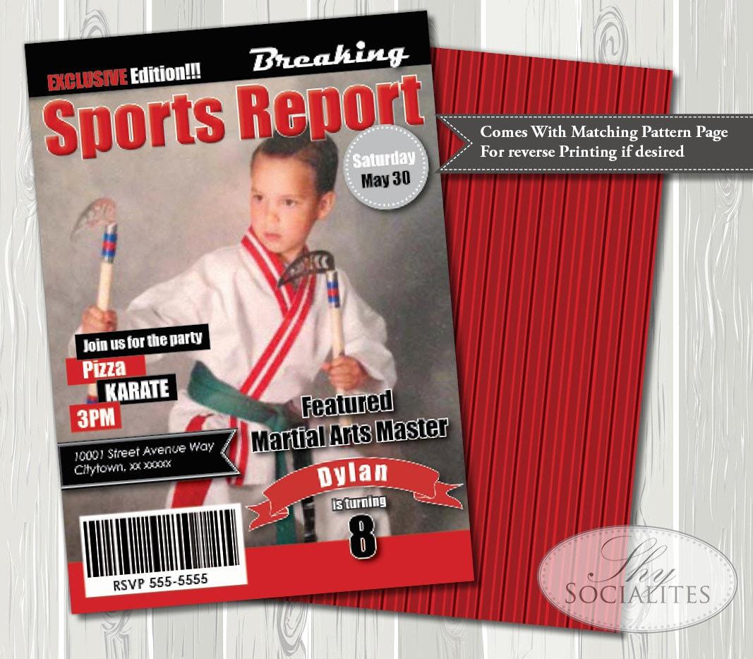 Sports Magazine Cover Invitation | Photo Invitation, Sports Birthday ...