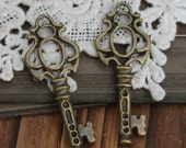 Last-BIG SALE-20pcs Vintage Antique Bronze plated Lovely Filigree Charms/Pendants-  ( Key )-(HAB-570)