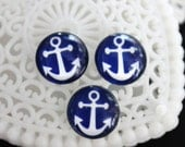SALE-10pcs 12mm Handmade Photo Glass Cabochon -Image Glass Cabochon-(Sea anchor )-(HPGC-68)