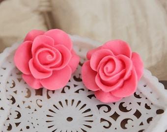 8PCS Wholesale Beautiful  Colorful Rose Flower Resin Cabochon   --20mm(CAB-S-36)