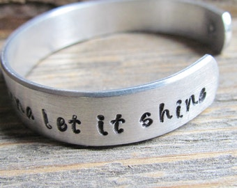 Bracelet This Little Light of Mine I'm Gonna Let It Shine Toddler Child Hand Stamped Jewelry Cuff Aluminum Little Girl KIDS