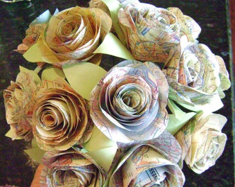 The Stephanie vintage map atlas Spiral rose paper flower bridal bouquet toss bridesmaid recycled wedding alternative destination centerpiece