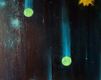 """Black Hole """"Event Horizon"""" / Planets / Stars / Universe / Milky Way Galaxy / Oil Painting on Canvas"""