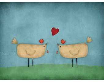 DIGITAL Nursery art--hens in love-download of original illustration-support the NSW Chicken rescue