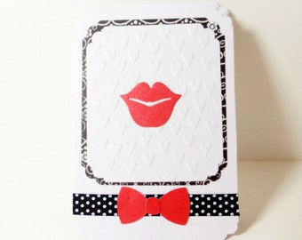 Bridemaids Cards- Embossed Cards- Wedding Cards- Thank You Cards-Wedding Thank You Cards- Lips Cards- Boxed Set of 6- Bridal Cards