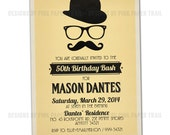 Retro Hipster Mustache Bash Invitation v.2- Customizable - Print your own