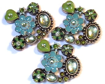 """Three 2 Hole Slider Beads 1 1/8"""" Green Turquoise Enamel Flowers Hearts Cabochons Peridot Jonquil Olivine Crystals Flower Garden Nature Beads"""