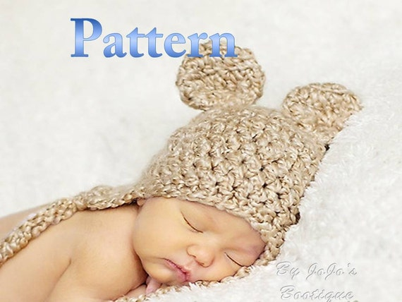 Crochet Baby Hat Bear Ears Pattern : PDF Baby Bear Hat PATTERN Baby Bear Hat Crochet Pattern