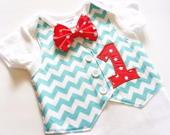 Personalized Baby's First Birthday ChevronTuxedo Bodysuit Vest with Matching Polka Dot Bow Tie