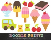 Ice Cream Clipart  - Clip Art Printable - Digital Scrapbook - Ice Cream Birthday Party - Sundae, Popsicle - Personal and Commercial Use