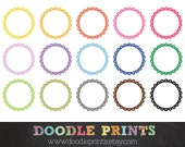 Scalloped Circles Frames - Digital Scrapbook Clip Art Printable -  Personal and Commercial Use - Instant Download