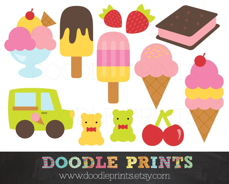 Ice Cream Clipart Clip Art Printable Digital Scrapbook