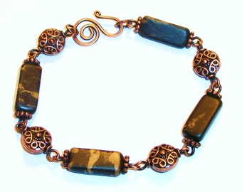 Portoro Marble Copper Link Bracelet, Free US Shipping