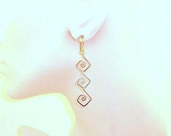 Mixed Metal Diamond Spiral Earrings Free Shipping