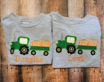 Tractor with Pumpkins Personalized Name Shirt or body suit