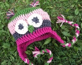Owl Hat with earflaps crochet pink green grey - newborn to 18 month sizes-