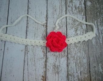 Crochet Flower Tie Back Headband/ White Crochet Headband with Neon Pink Flower /  crochet headband / infant headband/ photo prop