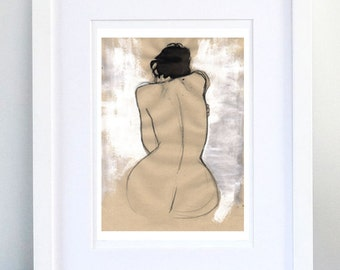 Print, Art Print, Wall Decor, Wall Art, Illustration Print,Tempera Nude Figure Drawing, No. 01 - print 8x11.5 inch (21x29.5 cm)