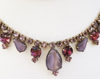 Vintage jewelry necklace purple art glass and rhinestones in gold tone in Juliana style necklace Sale half price