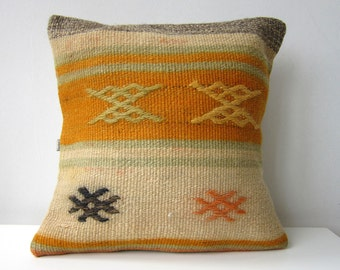 "Handwoven Turkish Kilim Pillow Cover 16"" X 16"", Modern Bohemian Home Decor,,Decorative Kilim Pillow,Vintage Kilim Pillow,Throw Pillow"