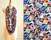 VIntage Nicole Miller Silk BARBIE Scarf// Extra Large Silk Scarf with Barbie Doll Fashion Print