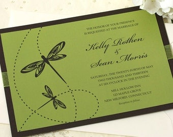 Dragonfly Wedding Invitation, Green Wedding Invitation, DEPOSIT