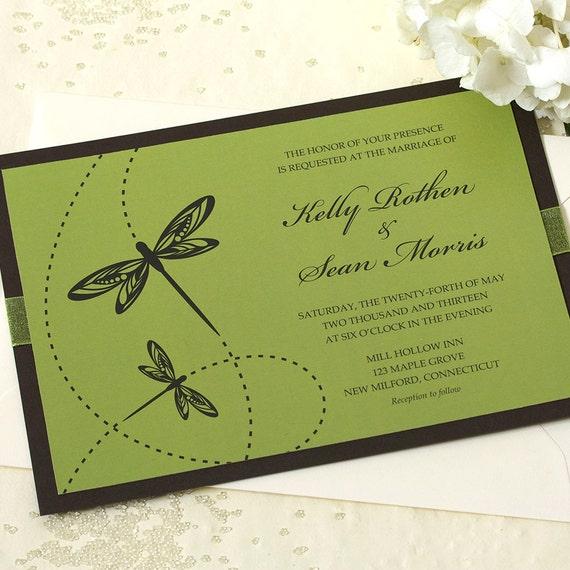 Dragonfly Wedding Invitation, Green Wedding Invitation, DEPOSIT