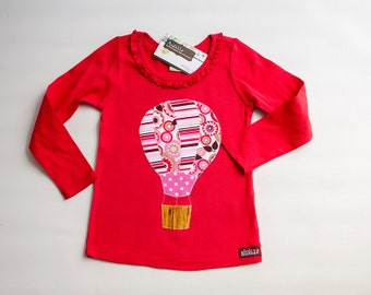 Size 3 4 Ready to Ship, Girls Hot Air Balloon Shirt, Girls Applique Shirt, Red Long Sleeved, Pink Red White, Ruffle Shirt, In Stock 3T 4T